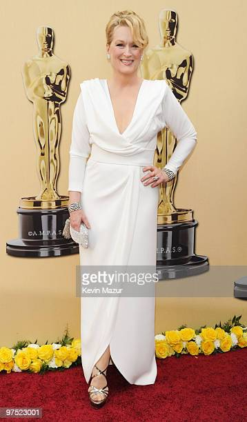 Actress Meryl Streep arrives at the 82nd Annual Academy Awards at the Kodak Theatre on March 7 2010 in Hollywood California