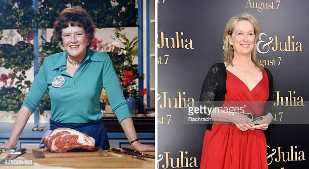 In this composite image a comparison has been made between Julia Child and actress Meryl Streep Actress Meryl Streep played American chef author and...