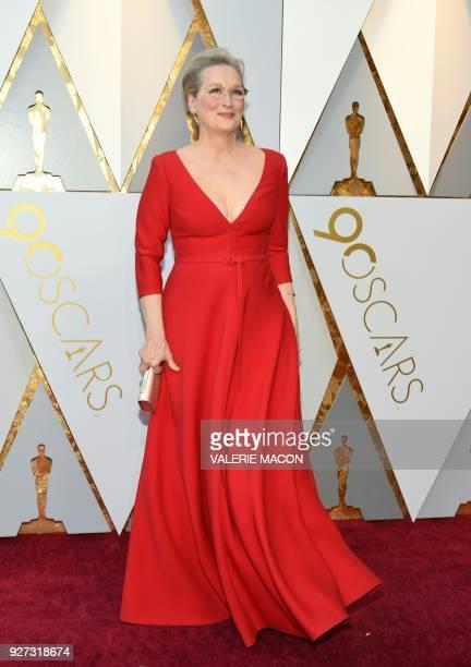 Actress Meryl Streep arrives for the 90th Annual Academy Awards on March 4 in Hollywood California / AFP PHOTO / VALERIE MACON
