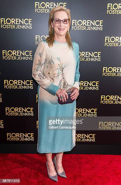 Actress Meryl Streep attends the 'Florence Foster Jenkins' New York premiere at AMC Loews Lincoln Square 13 theater on August 9 2016 in New York City