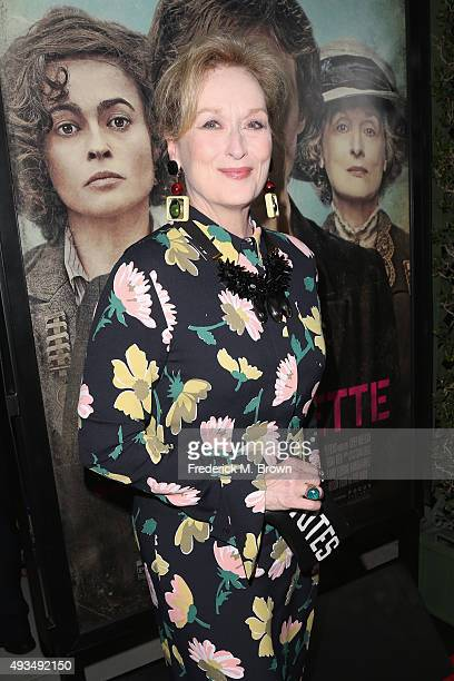 Actress Meryl Streep attends the premiere of Focus Features' Suffragette at Samuel Goldwyn Theater on October 20 2015 in Beverly Hills California