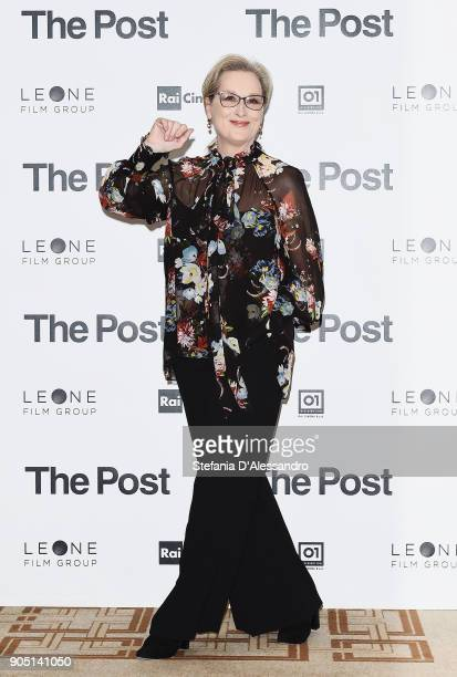 Actress Meryl Streep attends the 'The Post' photocall on January 15 2018 in Milan Italy
