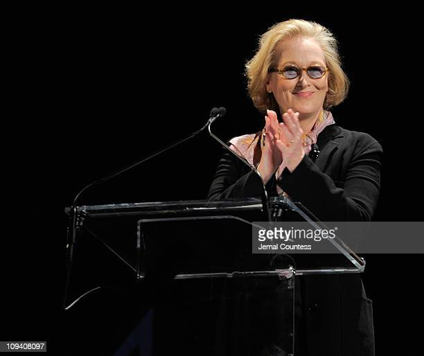 Actress Meryl Streep attends Vassar College's 150th Anniversary Celebration dress rehearsal at Jazz at Lincoln Center on February 24 2011 in New York...