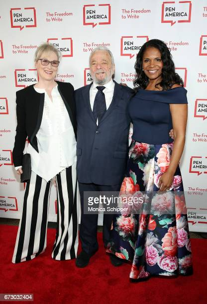 Actress Meryl Streep composer lyricist and honoree Stephen Sondheim and actress Audra McDonald attend the 2017 PEN America Literary Gala at American...