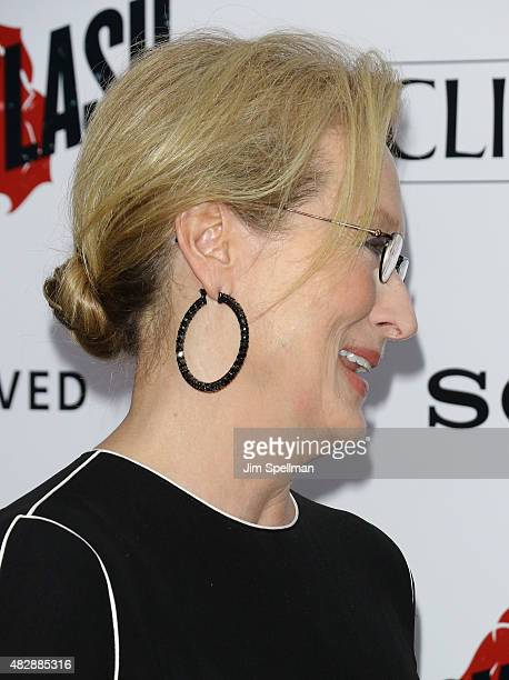 Actress Meryl Streep hair/jewelry detail attends the Ricki And The Flash New York premiere at AMC Lincoln Square Theater on August 3 2015 in New York...