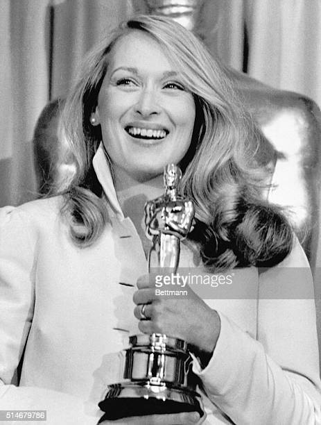 Actress Meryl Streep hugs her Oscar after winning the Best Actress in a Supporting Role for her role in Kramer vs Kramer during the 53rd Annual...