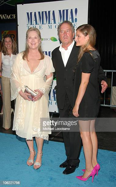 Actress Meryl Streep husband Don Gummer and daughter Louisa Gummer attend the premiere of Mamma Mia at the Ziegfeld Theatre on July 16 2008 in New...