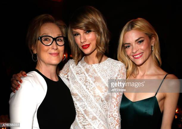 Actress Meryl Streep musician Taylor Swift and actress Jaime King attend The Weinstein Company's Academy Award party hosted by Chopard and DeLeon...