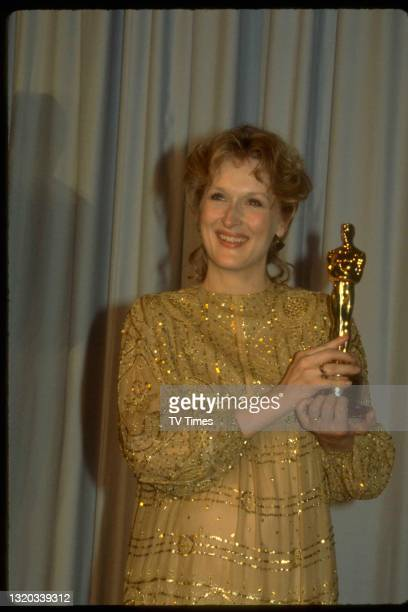 Actress Meryl Streep photographed at the 55th Academy Awards in Los Angeles holding the Best Actress award for her performance in Sophie's Choice, on...