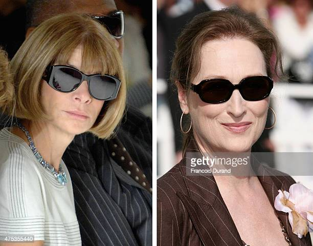 In this composite image a comparison has been made between Anna Wintour and actress Meryl Streep Actress Meryl Streep played a character like...