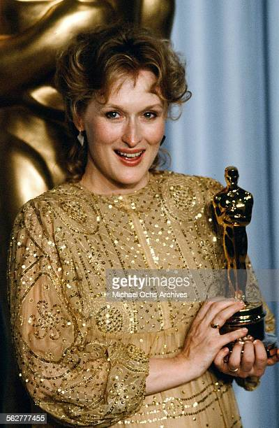 Actress Meryl Streep poses backstage after winning Best Actress during the 55th Academy Awards at Dorothy Chandler Pavilion in Los AngelesCalifornia
