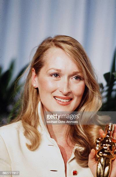 Actress Meryl Streep poses backstage after winning Best Supporting Actress during the 52nd Academy Awards at Dorothy Chandler Pavilion in Los...