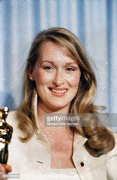 Actress Meryl Streep poses backstage after winning 'Best Supporting Actress' during the 52nd Academy Awards at Dorothy Chandler Pavilion in Los...