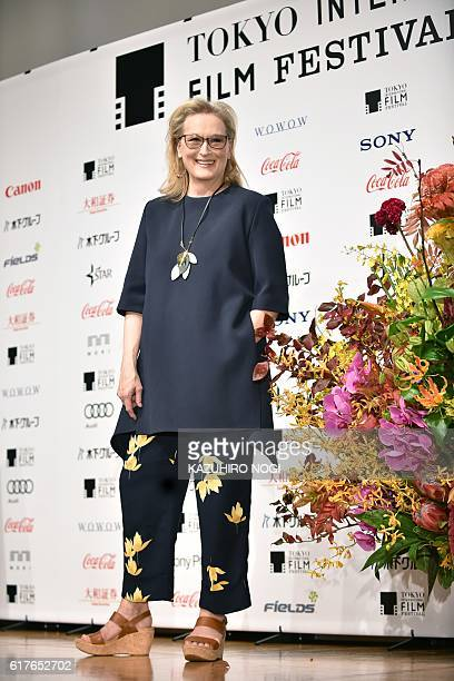 US actress Meryl Streep poses for photos following a press conference for her latest movie Florence Foster Jenkins in Tokyo on October 24 2016 Streep...