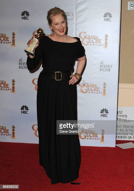 Actress Meryl Streep poses in the press room at the 67th Annual Golden Globe Awards at The Beverly Hilton Hotel on January 17 2010 in Beverly Hills...