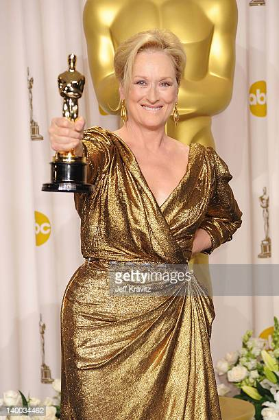 Actress Meryl Streep poses in the press room at the 84th Annual Academy Awards held at the Hollywood & Highland Center on February 26, 2012 in...