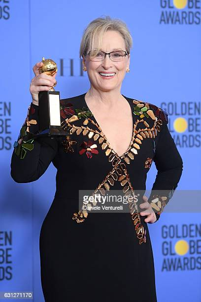 Actress Meryl Streep poses in the press room during the 74th Annual Golden Globe Awards at The Beverly Hilton Hotel on January 8, 2017 in Beverly...