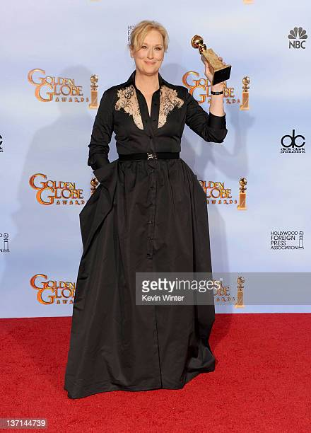 Actress Meryl Streep poses in the press room with the Best Performance by an Actress in a Motion Picture Drama award for The Iron Lady at the 69th...