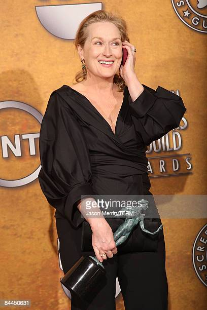 Actress Meryl Streep poses with her award for Outstanding Performance by a Female Actor in a Leading Role for Doubt in the press room at the 15th...