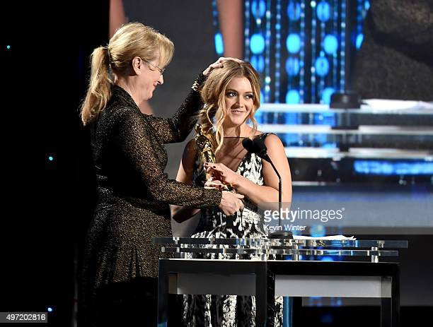Actress Meryl Streep presents the Jean Hersholt Humanitarian Award to Billie Lourd on behalf of her grandmother Debbie Reynolds during the Academy of...