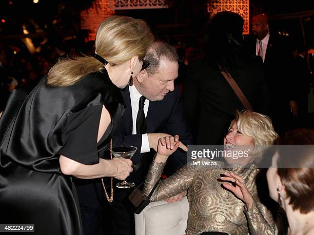 Actress Meryl Streep producer Harvey Weinstein and actress Emma Thompson attend The Weinstein Company Netflix's 2014 Golden Globes After Party...