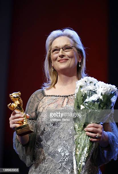 Actress Meryl Streep receives the Golden Honorary Bear award for Lifetime Achievement on stage prior to The Iron Lady screening at the 62nd Berlin...