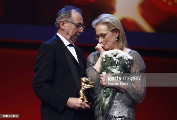 Actress Meryl Streep receives the Golden Honorary Bear award for Lifetime Achievement from festival director Dieter Kosslick on stage prior to The...