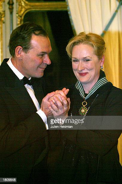 Actress Meryl Streep receives the Order of Chevalier des Arts et des Lettres from French Minister of Culture JeanJacques Aillagon February 22 2003 in...