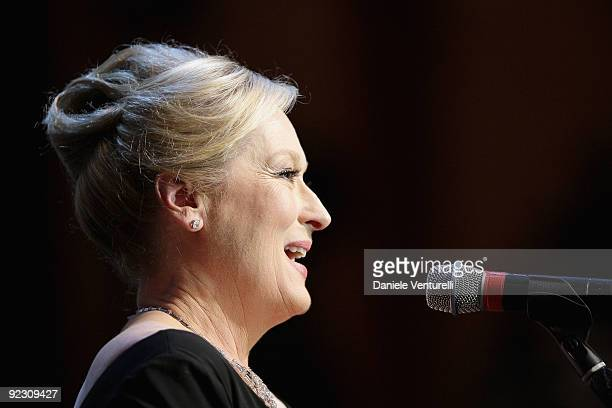 Actress Meryl Streep speaks as she receives The Golden Marc'Aurelio Acting Award during the Official Awards Ceremony on Day 9 of the 4th...