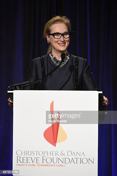 """Actress Meryl Streep speaks during The Christopher & Dana Reeve Foundation 25th Anniversary """"A Magical Evening"""" Gala on November 19, 2015 in New York..."""