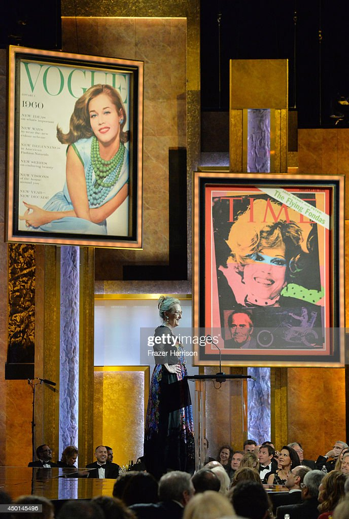 Actress Meryl Streep speaks onstage at the 2014 AFI Life Achievement Award: A Tribute to Jane Fonda at the Dolby Theatre on June 5, 2014 in Hollywood, California. Tribute show airing Saturday, June 14, 2014 at 9pm ET/PT on TNT.