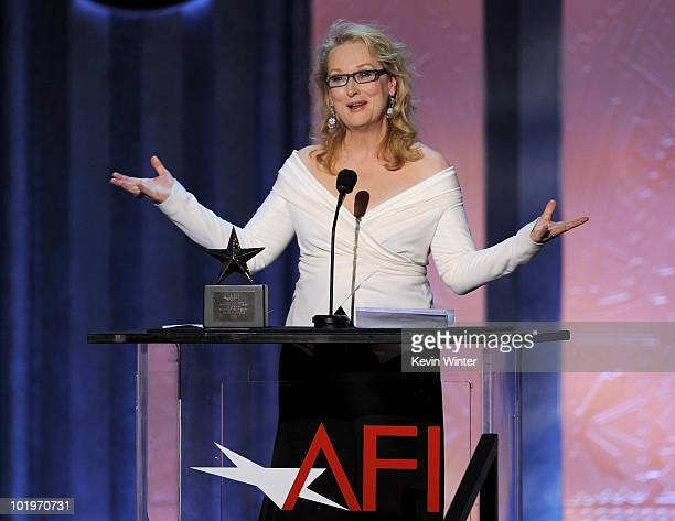Actress Meryl Streep speaks onstage during the 38th AFI Life Achievement Award honoring Mike Nichols held at Sony Pictures Studios on June 10 2010 in...