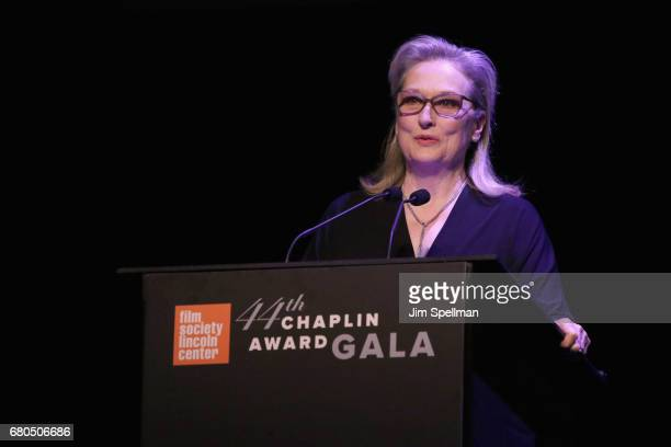 Actress Meryl Streep speaks onstage during the 44th Chaplin Award Gala at David H Koch Theater at Lincoln Center on May 8 2017 in New York City