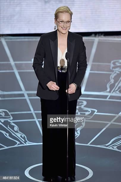 Actress Meryl Streep speaks onstage during the 87th Annual Academy Awards at Dolby Theatre on February 22 2015 in Hollywood California