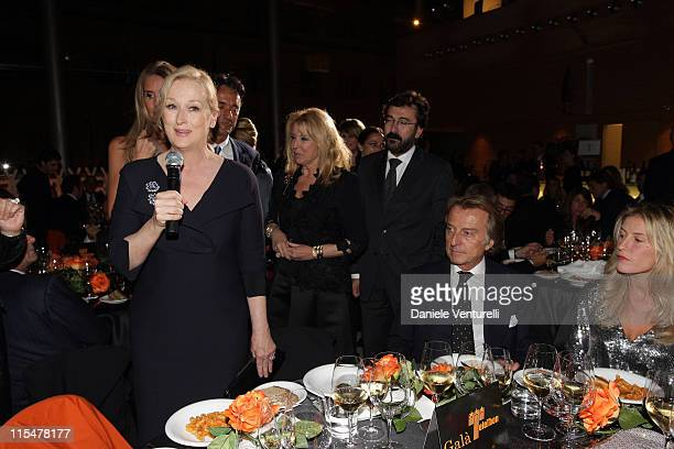 Actress Meryl Streep Telethon president Luca Cordero di Montezemolo and his wife Ludovica Andreoni attend the Charity Gala Telethon during Day 8 of...