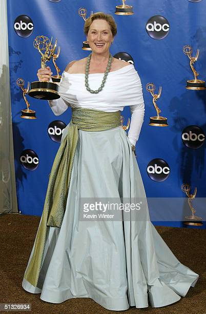 Actress Meryl Streep winner for Outstanding Actress in Miniseries for HBO's Angels in America poses backstage during the 56th Annual Primetime Emmy...