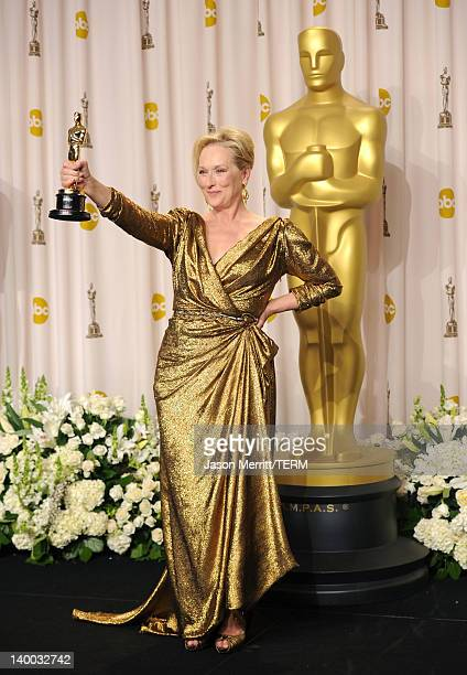 Actress Meryl Streep winner of the Best Actress Award for 'The Iron Lady' poses in the press room at the 84th Annual Academy Awards held at the...