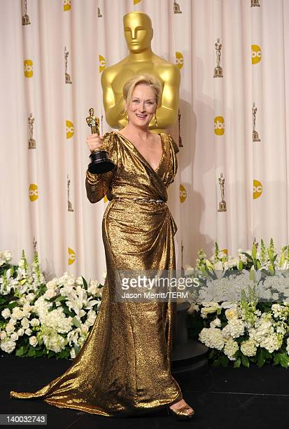 Actress Meryl Streep, winner of the Best Actress Award for 'The Iron Lady,' poses in the press room at the 84th Annual Academy Awards held at the...