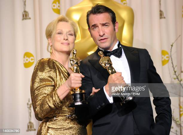 Actress Meryl Streep winner of the Best Actress Award for 'The Iron Lady' and actor Jean Dujardin winner of the Best Actor Award for 'The Artist'...