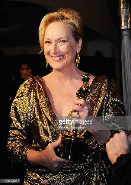 Actress Meryl Streep winner of the Best Actress Award for 'The Iron Lady' attends the 84th Annual Academy Awards Governors Ball held at the Hollywood...
