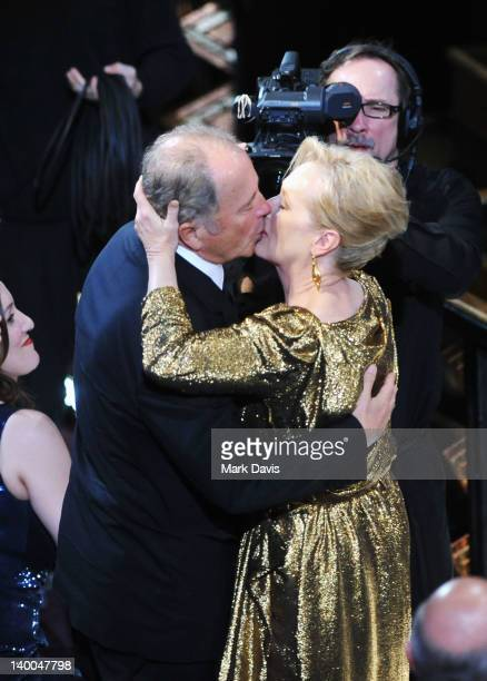 Actress Meryl Streep , winner of the Best Actress Award for 'The Iron Lady,' embraces husband Don Gummer during the 84th Annual Academy Awards held...