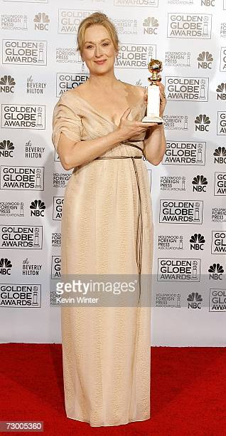 "Actress Meryl Street poses with her Best Performance by an Actress in a Motion Picture - Musical or Comedy award for ""The Devil Wears Prada""..."