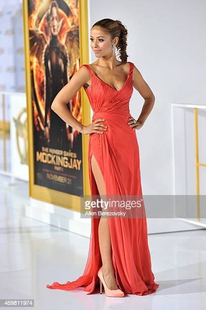 """Actress Meta Golding arrives at the Los Angeles premiere of """"The Hunger Games: Mockingjay - Part 1"""" at Nokia Theatre L.A. Live on November 17, 2014..."""