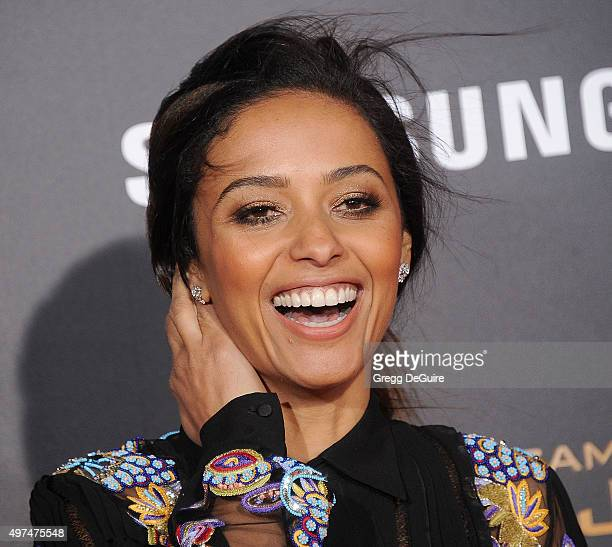 Actress Meta Golding arrives at the premiere of Lionsgate's The Hunger Games Mockingjay Part 2 at Microsoft Theater on November 16 2015 in Los...