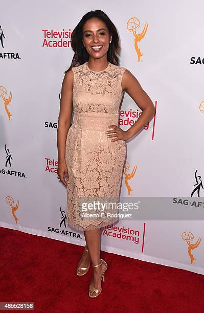 Actress Meta Golding attends a cocktail party celebrating dynamic and diverse nominees for the 67th Emmy Awards hosted by the Academy of Television...