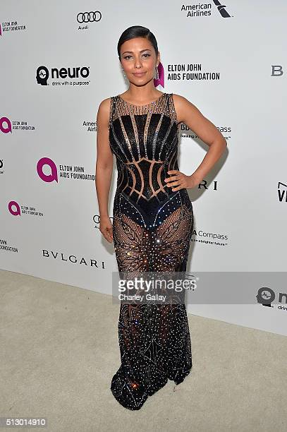 Actress Meta Golding attends Neuro at the 24th Annual Elton John AIDS Foundation's Oscar Viewing Party at The City of West Hollywood Park on February...