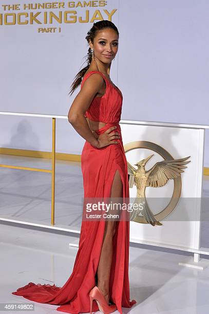 Actress Meta Golding attends The Hunger Games Mockingjay Part 1 Los Angeles Premiere at Nokia Theatre LA Live on November 17 2014 in Los Angeles...