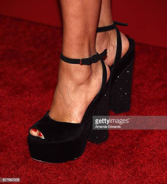 Actress Meta Golding shoe detail arrives at a screening of Hallmark Channel's A Nutcracker Christmas at The Grove on December 5 2016 in Los Angeles...