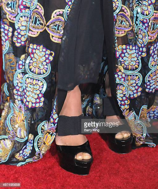 Actress Meta Golding shoe detail attends Premiere Of Lionsgate's 'The Hunger Games Mockingjay Part 2' at Microsoft Theater on November 16 2015 in Los...