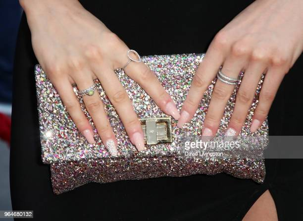 Actress Mhairi Fergusson purse detail attends the premiere of Paramount Pictures' 'Action Point' at ArcLight Hollywood on May 31 2018 in Hollywood...